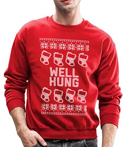 Well Hung Ugly Christmas Sweater Crewneck Sweatshirt, 2XL, red