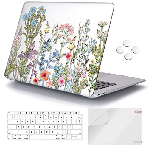 iCasso MacBook Air 13 inch Case 2020 2019 2018 Release A2337/A1932/A2179, Hard Shell Case Protective Cover and Keyboard Cover Only Compatible Newest MacBook Air 13'' with Touch ID Retina - Weeds