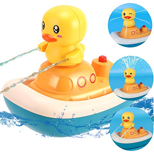 liberty imports baby bath toys Liberty Imports Baby Bath Toy, Electric Rotation Water Spray Fountain Duck Boat with 3 Sprinklers   Floating Bathtub Toys for Toddlers Kids