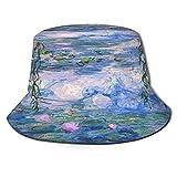 Sombreros de Cubo Plegables,Estanque de Loto de Estilo de Pintura al óleo,Sombrero de Pescador Unisex con protección UV,Gorra de Playa para el Sol,Sombreros de Viaje de Verano para Hombres y Mujeres