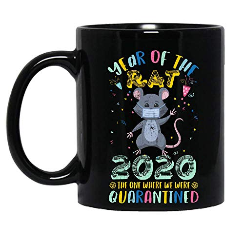 Vintage Year Of The Rat 2020 The One Where We Were Quarantined Funny Ceramic Mug Graphic Coffee Mugs Black Cups Tea Tops Custom Novelty 11 Oz 15 Oz