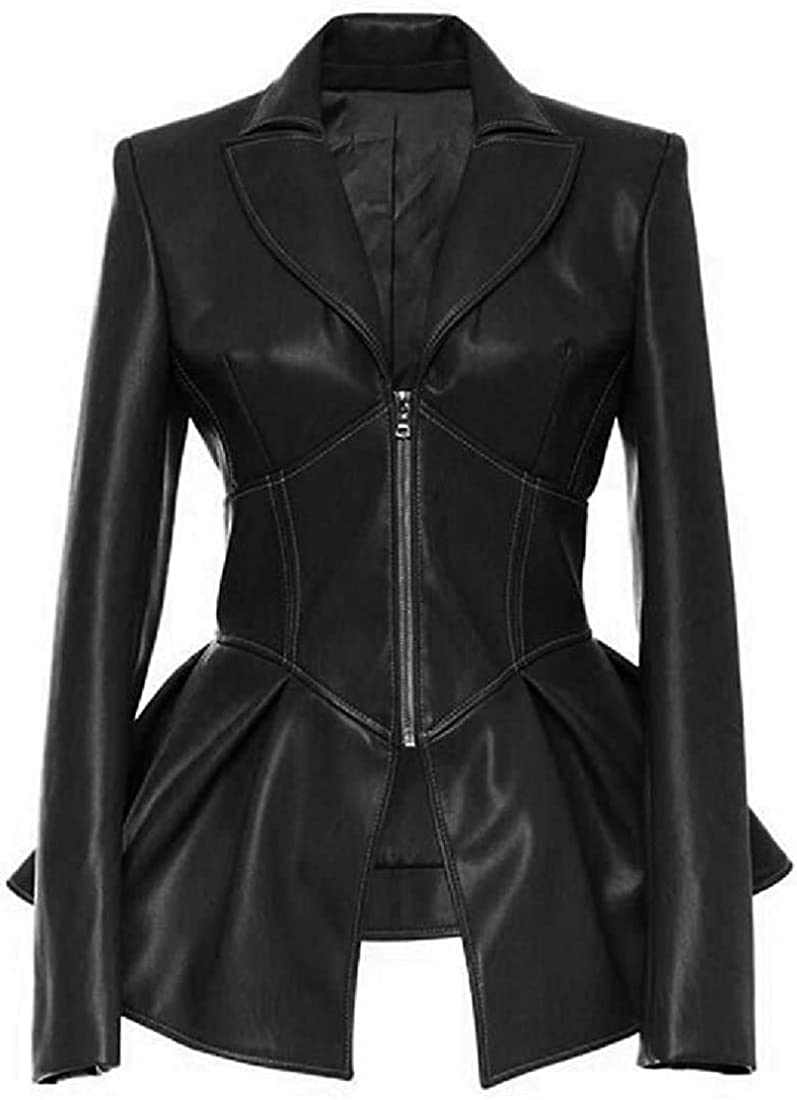 Yhsuk Women's Flare PU-Leather Slim Zip Up Biker Jacket Coat Outerwear