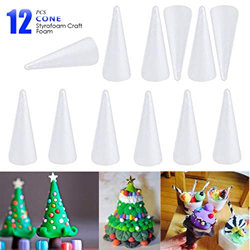 Best Prices! ACTENLY Craft Foam Cone - 12- Pack Cone Shaped Foam for DIY Home Craft Project, Christm...