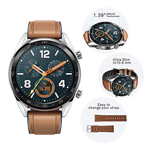 Huawei Watch GT Classic Smartwatch (46 mm Amoled Touchscreen, GPS, Fitness Tracker, Herzfrequenzmessung, 5 ATM wasserdicht) Saddle/braun - 4