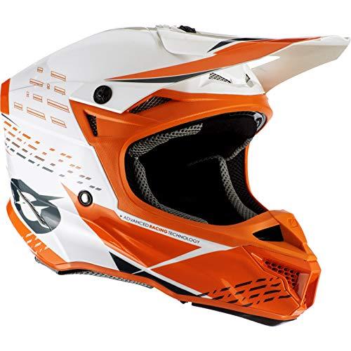 O'NEAL | Casco de Moto | Motocross Enduro | 2 Carcasas Exteriores y 2 EPS para Mayor Seguridad, Carcasa de ABS | Casco de poliacrilita 5SRS Trace | Adulto | Naranja Neón Blanco | Talla L