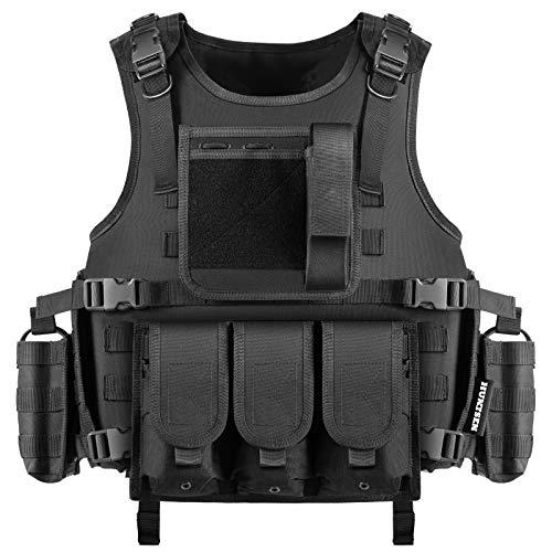 HUNTSEN Tactical Vest Airsoft for Men Outdoor Training Vest Adjustable Lightweight Breathable 600D Polyester