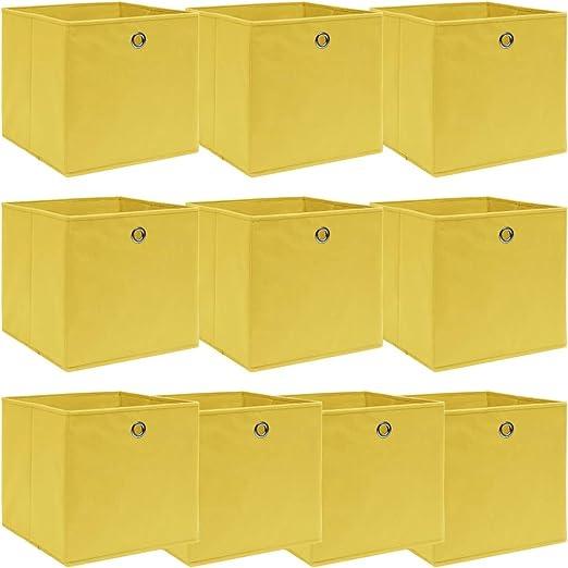 vidaXL 4X Cajas de Almacenaje con Tapas Organizador Almacenamiento Cofre Papelera Plegable Hogar Bufandas Calcetines Ropa Interior Tela Verde