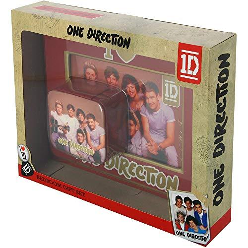 One Direction Bilderrahmen und kleine Schmuckschatulle mit Geschenkverpackung.