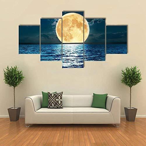QWASD Super Luna En El Agua Cuadros En Lienzo Pintura 5 Paneles Cuadro Moderno para Niños Habitación Decoración para El Hogar 150Cm×80Cm,con Marco