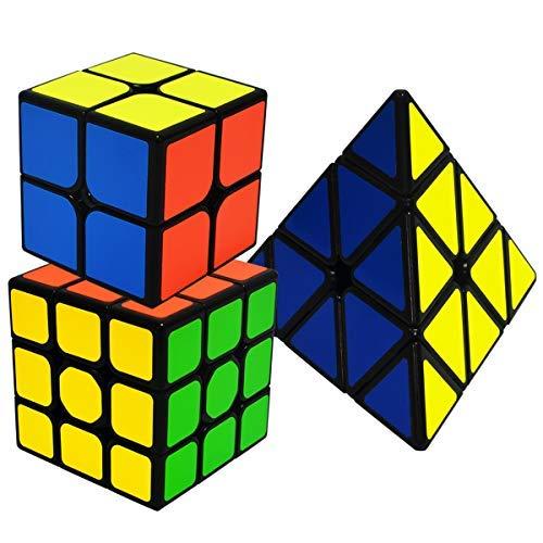 EASEHOME Speed Magic Cubes Set Pyraminx + 2x2x2 + 3x3x3, 3 Pack Puzzle Cubes Rompecabezas Cubo Mágico PVC Pegatina para Niños y Adultos