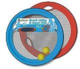 alldoro 60040 - Beach Volley & Super Disc, 2 in 1 Set Strand Volleyball & Riesen Wurfscheibe, XXL Frisbeescheibe Ø 50 cm für Outdoor und Garten, mit 2 Bällen, Für Kinder ab 5 Jahren & Erwachsene