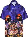HAPPY BAY botón de los Hombres abaño Bolsillo de Manga Corta de Cuello Frente Camisa Hawaiana de Verano Traje de Piratas Cráneo Disfraces De Halloween Calabaza para los Hombres Azul Real_AA238 3XL