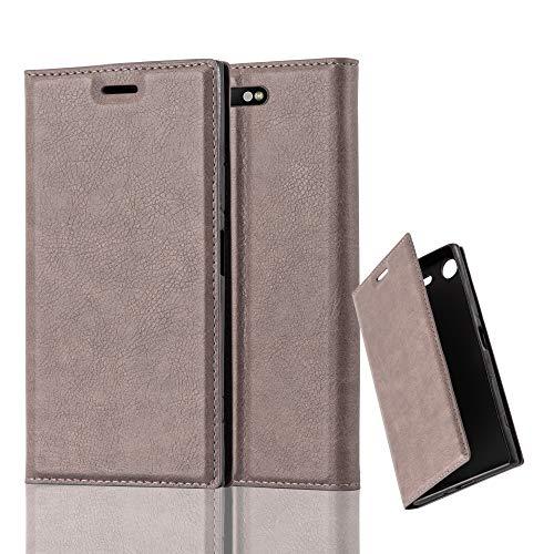 Cadorabo Hülle für Sony Xperia XZ1 in Kaffee BRAUN - Handyhülle mit Magnetverschluss, Standfunktion & Kartenfach - Hülle Cover Schutzhülle Etui Tasche Book Klapp Style