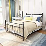 HOJINLINERO Metal Bed Frame Full Size Platform Mattress Foundation with Vintage Headboard and Footboard Firm Support and Easy Assembly No Box Spring Needed,Black