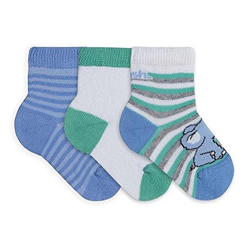 Kit 3 Pares Meia Cas Cano Médio Bebê C/Lycra, Mash, Menino, Azul/Branco/Verde, 16-21