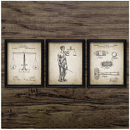 Woplmh rechtse aanrecht Lady gerechtelijke Law Poster en afdrukken weegschaal van gerechtelijke Lawyer geschenk kunst canvas schilderij Lawyer Office Wall Decor-40x50cmx3Pcs geen lijst