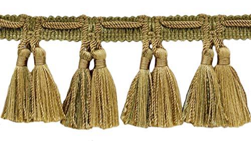 16.5 Meter Package of Veranda Collection 64mm Tassel Fringe Trim Artichoke Green, Medium Gold Style# TFV025 Color: Olive Grove - VNT15 (54 Ft / 18 Yards)