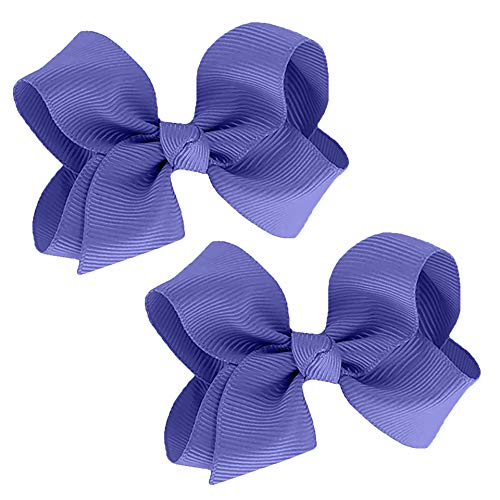 WD2U Baby Girls Set of 2 Small GrosGrain 3' Boutique Hair Bows Alligator Clips Periwinkle