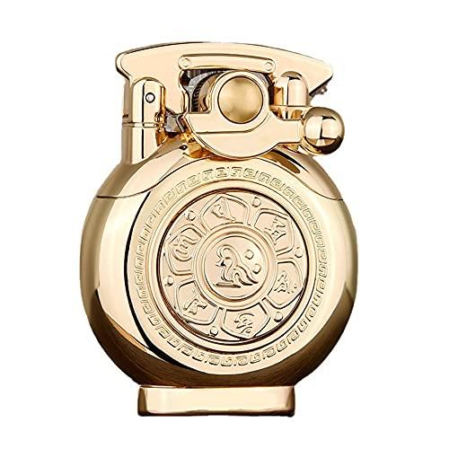 CYzpf Encendedor de Queroseno con Brazo Oscilante, Encendedores de Metal a Prueba de Viento Reutilizables Giratorios Vintage para Regalos, Hombres, Papá, Esposo (sin Combustible),Gold