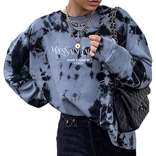 Yesgirl Lange Ärmel Pullover Damen Winter Pullover mit Rundhalsausschnitt, Vintage Sweatshirt Oversized Bunter Cartoons Pullover Teenager Mädchen Sportbekleidung Sweatshirt for Women C Schwarz S