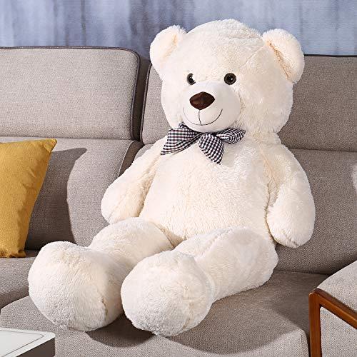 Teddy Bear Stuffed Animal 47 inch Plush Bear Soft Toy for Girls Children Girlfriend White 1.2M (White, 47inch)