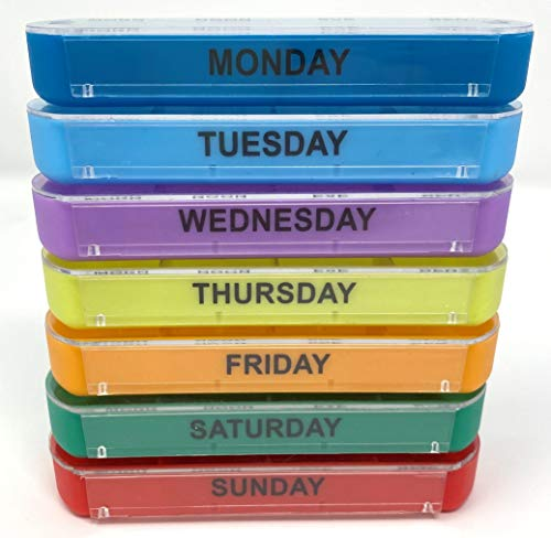 Weekly Pill Organizer, 28 compartments, 4 Times a Day, 7 Day Pill Box Case, BPA Free, Ideal for Vitamins, Cod Liver Oil, Supplements and Medication