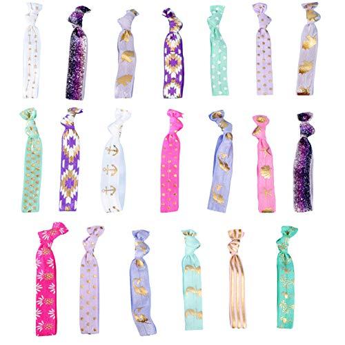 Lurrose Einhorn geknotete Haargummis Gummibänder Pferdeschwanz Inhaber Haar Band Armband für Mädchen 20 Stück (Zufälliger Stil)
