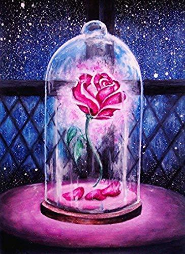 AYLCFC 5D - Kit de pintura de punto de cruz, kit de artesanía, salón, adhesivos de pared, decoración de casa, 30 x 40 cm, color rosa