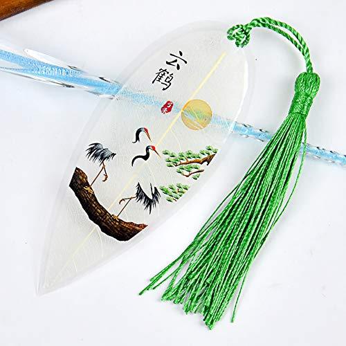Hoja Marcapáginas, Creativo Borla Plástico Marca De Libro 1 Pc Amuleto De La Suerte Ornamento Colgando Decoración De Pared Decoración Del Arte-aa 5.3x13cm