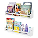 2 Set Shelf Long Crown Molding Floating Bookshelves for Baby and Kids Nursery Room Book Organizer Wall Shelves Storage Ledge Display Holder for Toys CDs Baby Monitor Frames – Ships Fully Assembled