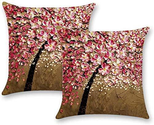 Conjunto de giyiohok de 4 Cubiertas de Cojines Decorativos para sofá Cama - 45 x 45 cm - Patrón de Hojas Tropicales - algodón y Lin-Árbol de Pintura al óleo 2pcs