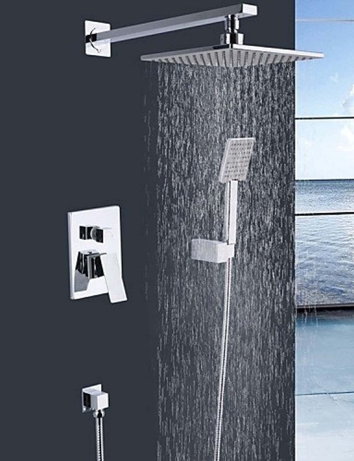 DF Shengbaier Wall Mounted Double Handles Brass Shower Faucet with 8  Square Shower Head and Hand Shower