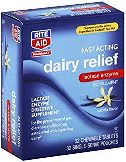 Rite Aid Fast Acting Dairy Relief Chewable Tablets, Vanilla Flavor - 32 Count | Lactase Enzyme | Gas and Bloating Relief