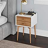Nathan James Harper Mid-Century Side Table, 2-Drawer Wood Nightstand, White/Brown