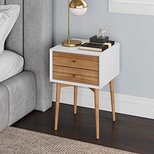 Nathan James Harper Mid-Century Side Table 2-Drawer, Wood, White/Brown