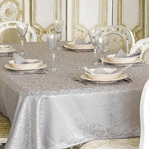 BgEurope TOVAGLIA Luxury, in Argento, con Trattamento Anti-Macchie, Dimensioni, RIF. Lyon, Argento, 59 x 137 (150 x 350cm)
