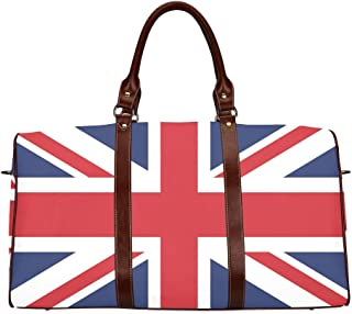 Large Leather Travel Duffel Bag For Men Women Vector Image British Flag Printing Waterproof Overnight Weekend Bag Luggage Tote Duffel Bags For Travel Gym Sports School Beach