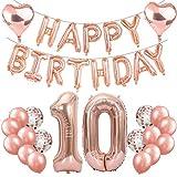 Feelairy 10 Cumpleaños Globos Decoración Oro Rosa, Happy Birthday Banner Globo Carta, Globos de Papel Aluminio Gigante Número 10 y Corazón Globos,10 Años Fiesta de Cumpleaños para Niñas y Niños