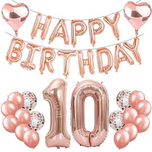 Feelairy 10 Compleanno Decorazione Oro Rosa Set 10° Compleanno Festa Decorazioni, Numero 10 Palloncini Foil Giganti, Happy Birthday Palloncini Ghirlanda, 10 Anni Compleanno per Ragazze Ragazzi