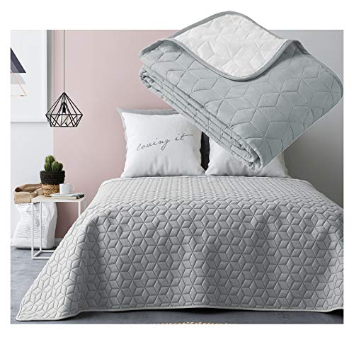 JEMIDI Tagesdecke 200cm x 220cm Bettüberwurf Bettüberwurf Sofaüberwurf Bett Decke gesteppt Tages Tagesdecken Betthusse (Hellgrau/Weiß Raute)