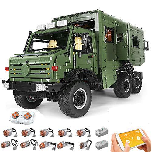 HZYM Técnica Caravana Modelo Bloques de construcción, 6689 piezas, doble mando a distancia, camión, con 9 motores, juego de construcción, compatible con Lego Technic