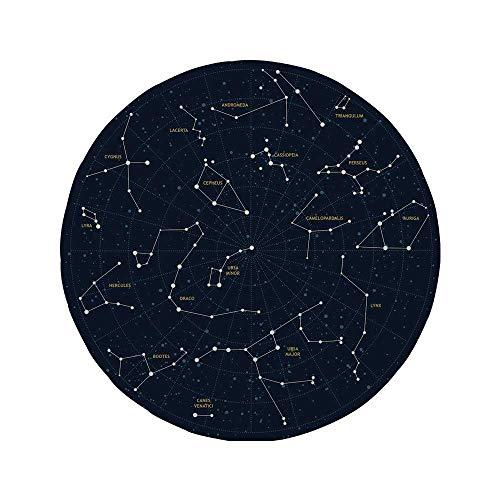 Rutschfreies Gummi-Rundmaus-Pad Sternbild Himmelskarte Andromeda Lacerta Cygnus Lyra Hercules Draco Stiefelstiefel dunkelblau-gelb-weiß 7,9 'x 7,9' x3 mm