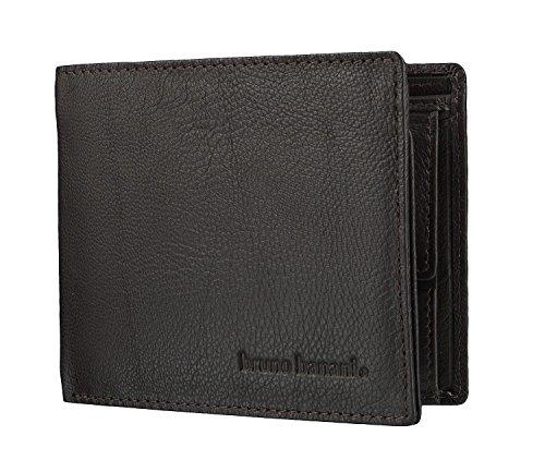 bruno banani Geldbörse für Männer aus Echt Leder, Herren Ledergeldbeutel im Querformat - Klassisch Braun 4115