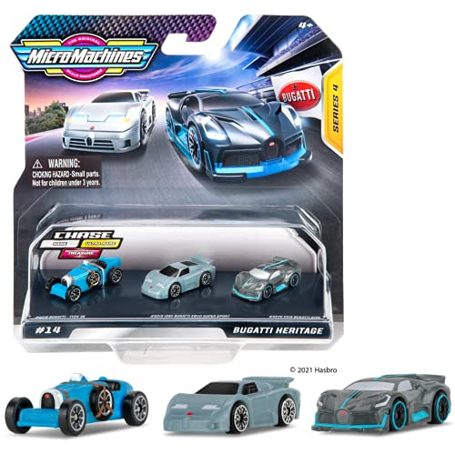 MicroMachines Pack de Inicio de Micro Machines, Bugatti Heritage - Incluye 3 vehículos, Coches de Carreras y Coches clásicos - Posibilidad de Algo Raro - Colección de Coches de Juguete