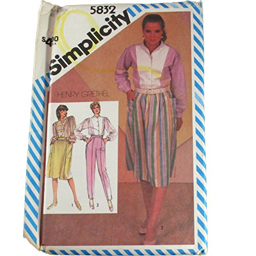 Simplicity 5832 Sewing Pattern Henry Grethel Misses Pants,Tucked Skirt and Shirt