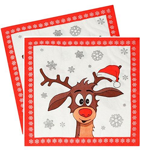 alles-meine.de GmbH 30 Stück _ Servietten -  Didi das kleine Rentier - ROT / Winter  - zu Weihnachten - festlich gedeckt - Tischserviette Papier - Weihnachtstisch - Weihnachtsf..