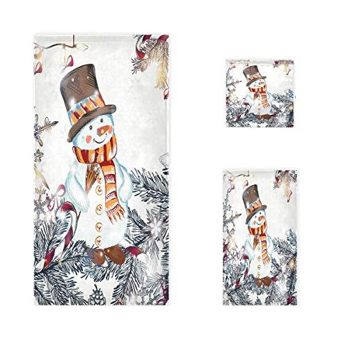 Exnundod Cute Christmas Snowman Bath Towels Set of 3 Xmas Tree Hand Towel Cotton Soft Guest Washcloth Thin for Bathroom Decorations Housewarming Kitchen Swim Pool Spa Gym Yoga and Hotel Travel Gifts