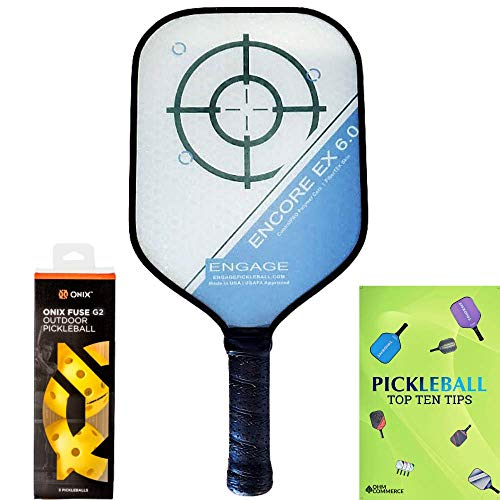 Engage Encore EX 6.0 (Standard Weight 7.9oz - 8.3oz) Pickleball Paddle & Onix 3-Pack Fuse G2 Pickleball Balls & Pickle Ball Tips Sheet Bundle - Thick Core Racket for Control, Feel, Power & SweetSpot