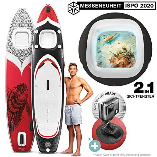 Messe-Neuheit 2020! Premium WBX SUP-Board mit 2in1 Sichtfenster   Action-Cam Ready +9in1 Set   Deutsche Qualitätsmarke   Aufblasbares Stand Up Paddel Board  Wassersport Kajak Sitz   Paddling Surfbrett