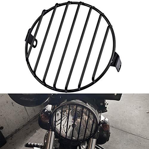 NATGIC Griglia Faro per Moto, 7  Protezione per Copertura per Faro per Motocicletta Griglia per Faro Rotonda in Metallo Adatta per Viti per Montaggio Laterale da 8 mm a 10 mm per Moto o Bici (Nero)